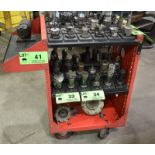 LOT/ TOOL HOLDER CART WITH PIVOTING BENCH MOUNT TOOL CHANGE FIXTURE & REMAINING TOOL HOLDERS