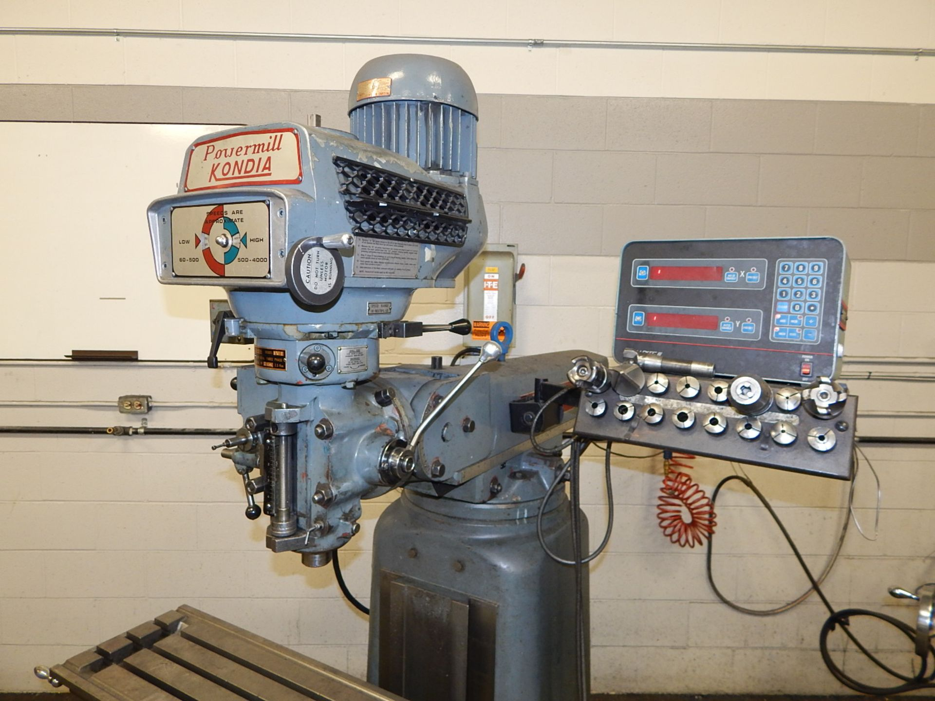 """Lot 37 - KONDIA FV-1 VERTICAL TURRET MILL WITH 48""""X12"""" TABLE, SPEEDS TO 4000 RPM, ACCURITE III 2 AXIS DRO,"""