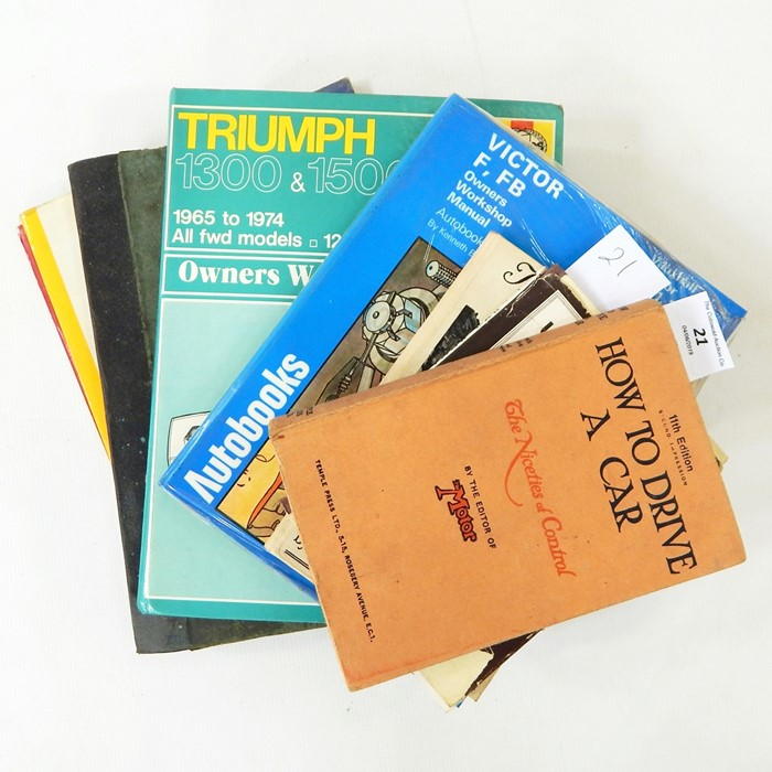 Lot 21 - Motoring Interest: including owners manual for Vauxhall Victor MK1.2, Triumph 1300 and 1500, The BMC