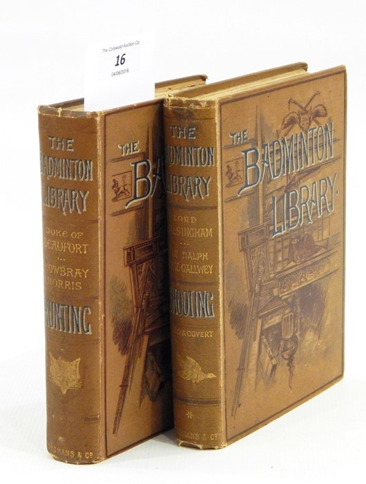 Lot 16 - Badminton Library vols 'Shooting' 1887 and 'Hunting' 1885, pictorial cloth, 2 vols (2)