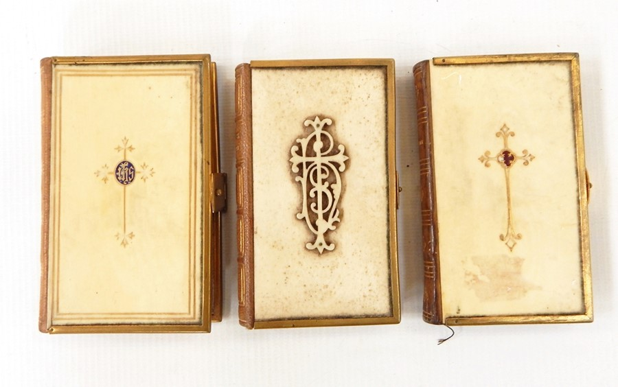 Lot 12 - Fine bindings -Three Common Prayer Books with ivory boards, leather backstrip,  two with brass edges