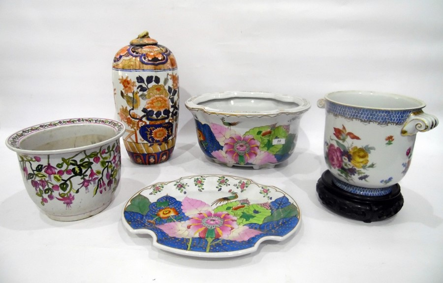 Lot 20 - Group of Chinese and Chinese-style vases and jardinieres, to include: a blue and white oviform