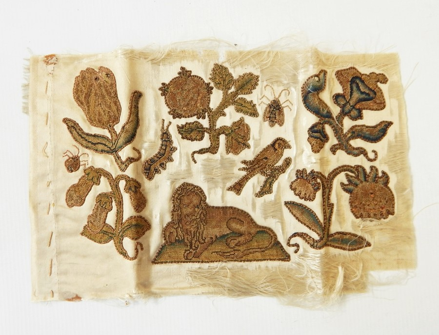 Lot 70 - Small pieces of 19th century embroideryon silk, 16cm x 24cm