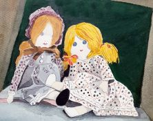 20th Century School Watercolour Study of Rag dolls, unsigned 27.5 x 35 cm