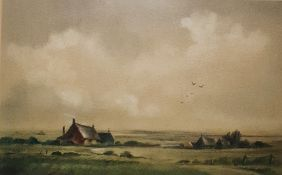 John Snelling (b.1924) Watercolour Cottages in landscape, signed lower right, 24.5 x 39.5 cm