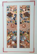 Two Chinese embroidered silk panels, probably cut-down detachable sleeve panels framed, of
