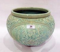 Burmantofts Faience pale celadon ground jardiniere, circa 1900, impressed 'BF' mark, shape number