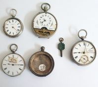 Silver open face pocket watches, various (4)