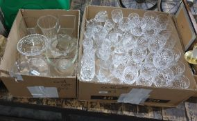 WITHDRAWN Two boxes of mixed glassware to include bonbon dishes, vases and various sizes of wine and