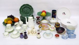 Late 19th century English majolica composite green glazed part dessert service, comprising a
