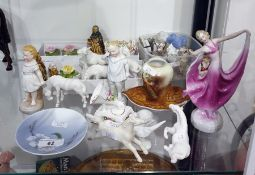 Various items of English and Continental porcelain, to include a Royal Copenhagen circular small
