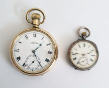 Gent's open-faced gold-plated pocket watchby Vertex, with subsidiary seconds hand dial, a British