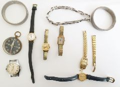 Quantity of lady's watches, various and a black dial compassin a glass casket