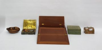 Quantity of wooden boxes, a writing slope, 33cm x 25cm x 6.3cm, two letter racks, a leather