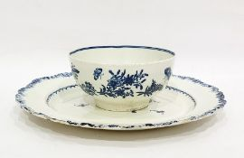 Worcester porcelain printed blue and white slop bowl and a Staffordshire pearlware blue and white