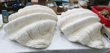 Two plaster castsof giant mollusc shells each naturalistically modelled, each approx 67 cms wide