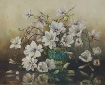 Marion Broom Oil on canvas Still life study of flowers in Chinese ginger jar, signed lower right