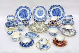 Group of 19th century and later Staffordshire pottery teawares, various printed marks, to include an
