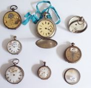 Six old pocket watches, some with silver cases