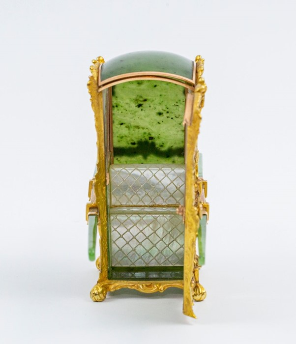Lot 555 - Please note:- Fabergé nephrite, rock crystal, mother-of-pearl and vari-colour gold miniature