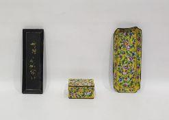 Canton enamel yellow ground part desk-setcomprising a shaped rectangular tray and a rectangular box