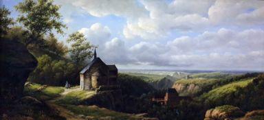 Ross Stefan (1934-1999) Oil on board Figures in extensive landscape, signed lower left, 29cm x 59cm