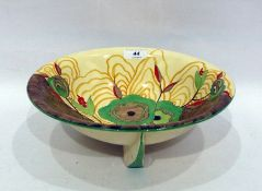Clarice Cliff Bizarre Newport Pottery Cabbage Flower pattern fluted bowl, circa 1930, printed