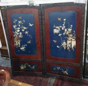 Two-fold Eastern screenwith mother-of-pearl applied motifs of various butterflies and birds amongst