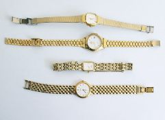 Collection of lady's gold-plated wristwatches, three by Rotary and a further by Seiko, all with