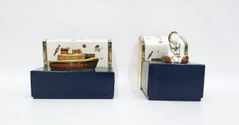 "Two Royal Crown Derby ""Treasures of Childhood"" paperweights, comprising a model of a tug boat,"
