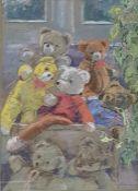 Una Warren (20th Century) Pastel Study of Bears, signed lower right 39 x 27 cm