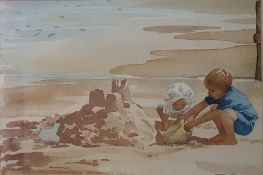 Raymond (20th Century) Watercolour Beach Scene, signed and dated '92 lower left 22 x 32 cm