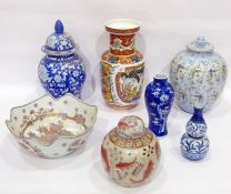 Group of Chinese and European vases and covers, 20th century, various printed marks, to include a
