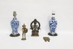 Two similar Chinese porcelain blue and white baluster vasesmounted as lamps, four-character
