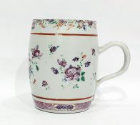 Chinese export Famille Rose barrel-shaped mug, late 18th century, painted with bouquets of