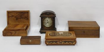 Oak eight-day mantel clockof arched rectangular form, 22cm high and six hinged boxes and covers