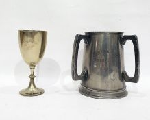 Pewter tyg emblazed 'Lancing College Football 6's 1893 and a trophy goblet 'Lancing College Kid 5'