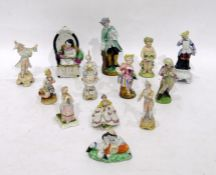 Quantity 19th century and later porcelain figures and miniature figures including a figure of a