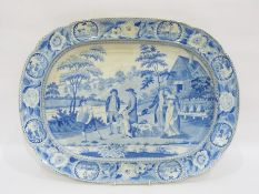 Staffordshire pottery blue and white transfer-printed oval serving dish printed with 'The Beemaster'