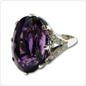 18ct white gold, amethyst and diamond dress ring s