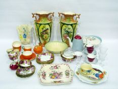 Porcelain part wash set, comprising: two large water jugs and a bowl each painted with overlapping