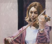 Eric Masefield (20th Century) Oil on Board Study of a violin player, signed lower right, 34 x 39 cm