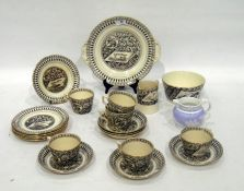 English pottery 'Canterbury' pattern part tea-service, late 19th century, printed marks, transfer-