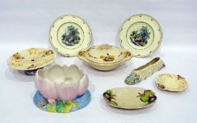Group of Clarice Cliff to include a tureen and cover printed with vignettes of daffodils, tulips and