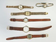 Collection of lady's gold-plated wristwatches, various, with bracelets and straps and a 'Rolex'