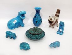 Various items of turquoise glazed potteryto include a Middle Eastern compressed vase and cover,