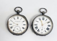 Gentleman's silver open face pocket watch, enamelled dial with Roman numerals with subsidery
