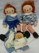 Two 1960's Raggedy Anne cloth dolls