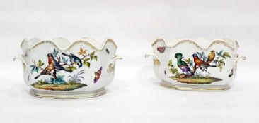 Pair of late 19th century Dresden porcelain monteiths, blue AR marks, each painted with birds