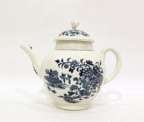 18th century Worcester porcelain printed blue and white teapot and cover, circa 1770, printed blue